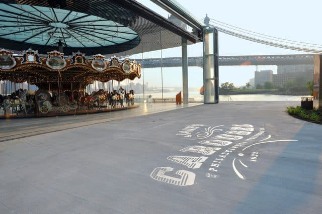 Jane's Carousel in Brooklyn has an awesome view of the Brooklyn Bridge