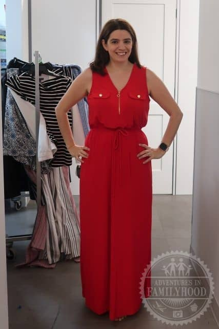 Me trying on a red dress from Macy's Backstage
