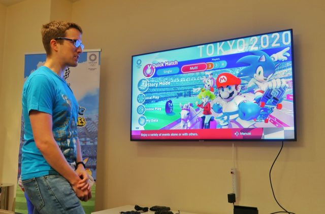 Rep from Sega giving demo of Mario & Sonic at the Olympic Games Tokyo 2020