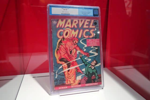 Original Marvel Comics No. 1 on display at the Marvel Universe of Super Heroes exhibit