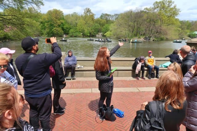 On Location Tours tour guide showing us the view of the famous Boathouse in Central Park