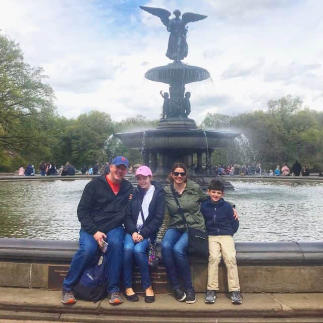 family shot at bethesda fountain during the on location tour
