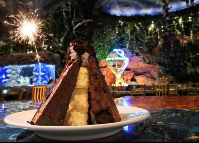 Sparkling Volcano dessert from Rainforest Cafe