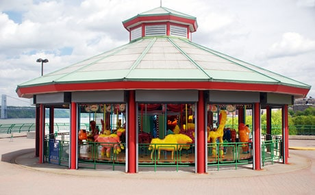 The colorful Totally Kid Carousel in Riverbank Park has animals designed by kids