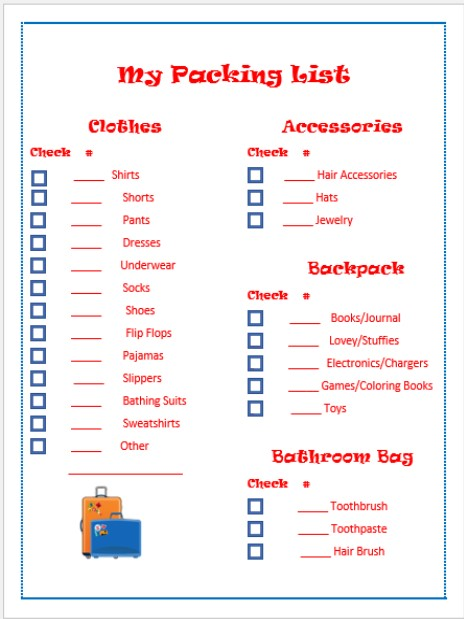 Vacation Packing List for Kids