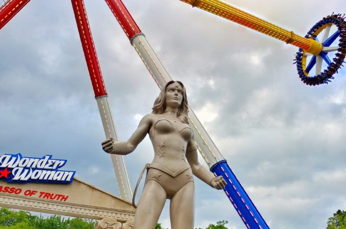Wonder Woman Statue in front of the new Lasso of Truth ride at Six Flags Great Adventure