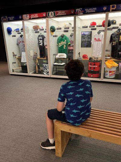 boy at baseball hall of fame