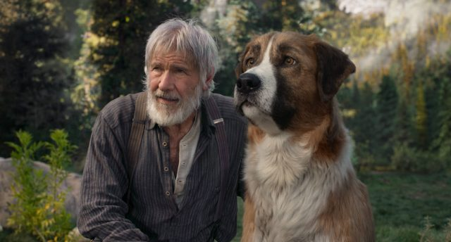 "harrison ford and his digital co-star Buck from ""The Call of the Wild"""