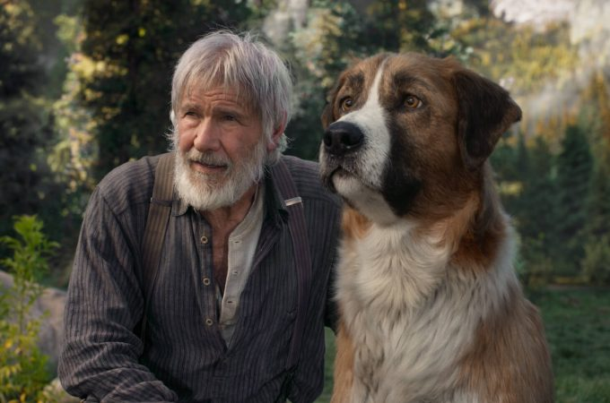 """harrison ford and his digital co-star Buck from """"The Call of the Wild"""""""