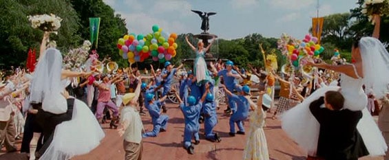"""""""That's how you know"""" finale from """"Enchanted"""" in front of bethesda fountain in central park"""