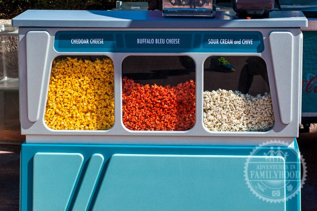 flavored popcorn cart in Future World in Epcot