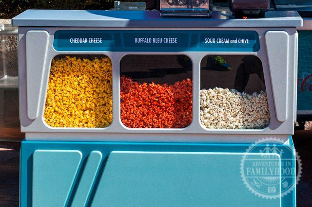 flavored popcorn cart in Future World in Epcot