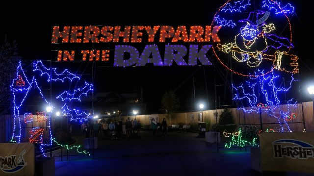 Entrance Sign to Hershey Park in the Dark Halloween Event