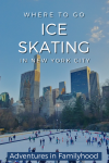 where to go ice skating in new york city pinterest image