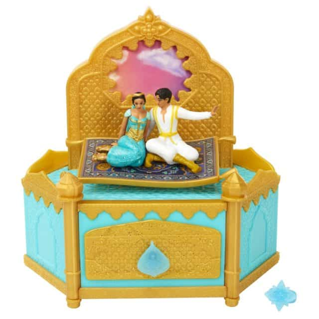 "Gold Jewelry box features Aladdin and Jasmine on magic carpet and plays ""A Whole New World"""