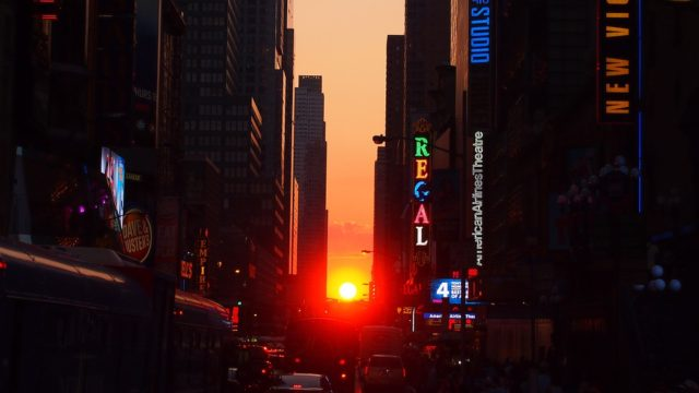 The sunset lined up perfectly with 42nd street in New York City.  This is called Manhattanhenge.