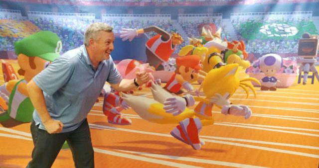 Photo op making it look like I am racing the characters from Mario & Sonic at the Olympic Games Tokyo 2020