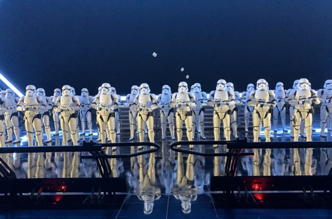 """storm troopers lined up inside Disney's newest attraction, """"Star Wars: Rise of the Resistance"""""""