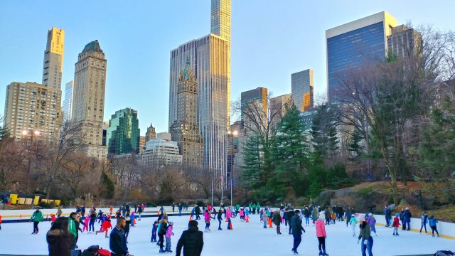 skaters at wollman rink in new york's central park