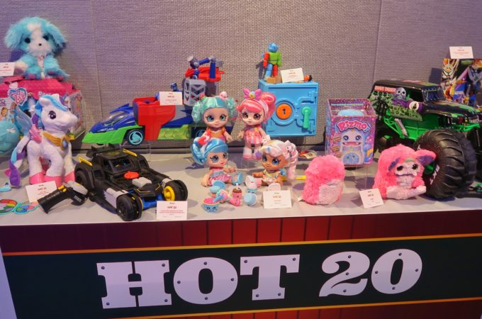 toy insider's hot 20 toys of 2019 displayed on a table at the HoliDay of Play event in NYC