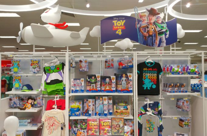 display of Toy Story 4 toys at Target store