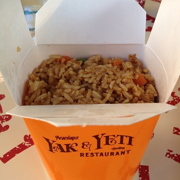 side order of chicken fried rice in a Yak & Yeti container